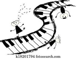 kindern, und, pianotastatur