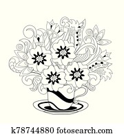 monochrom, veilchen, und, gekritzel, kraut, in, dass, dekorativ, becher