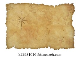 Pirates' parchment treasure map isolated with clipping path included