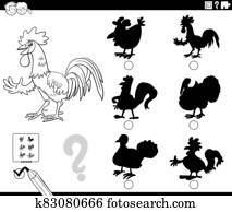 shadows game with rooster character coloring book page