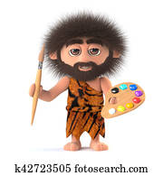 3d Savage caveman is also an artist