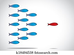 a sharp smart alert happy red fish with open eyes leading a group of happy blue fishes with closed eyes : leader or Leadership concept design illustration