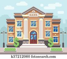 Bank building with cityscape. Business and finance flat vector concept