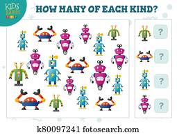 How many of each kind cartoon robot counting game for kids vector illustration