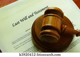 Legal gavel on a will (legal documents)