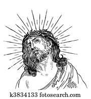 antique Jesus engraving (vector)