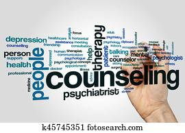 Counseling word cloud concept on grey background