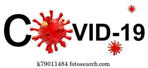 covid-19 virus coronavirus text word horizontal , isolated background - 3d rendering