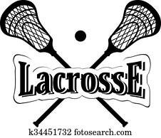 Crossed lacrosse stick.