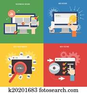element, von, webentwicklung, begriff, symbol, in, flache, design