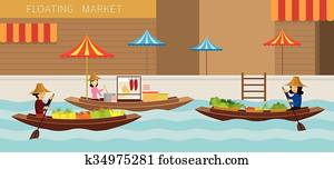 Floating Market, Boat, Travel