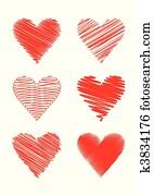 scribbled hearts (vector)