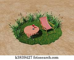 Tiny oasis in the desert with deck chair and table