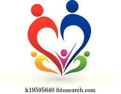 familie, begriff, logo, vektor