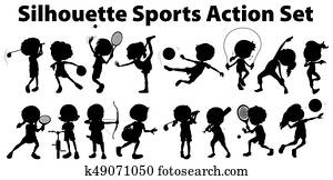 Silhouette sports action set on white background