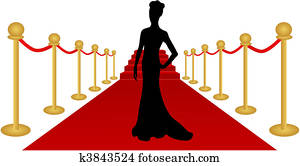 Woman Silhouette Red Carpet Vector