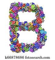 Alphabet letter B from casino tokens. 3D rendering