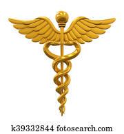 Golden Caduceus Medical Symbol