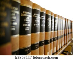 Law / legal books on a book shelf