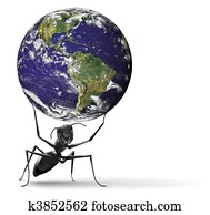 small ant lifting heavy blue earth