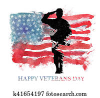 Watercolor illustration. Vegterans day. America, USA flag.