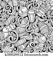 Cartoon hand drawn ice cream doodles seamless pattern
