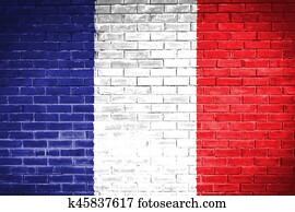 France flag , France flag on wall texture background