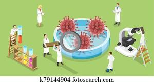 Isometric Vector Concept of Coronavirus Vaccine Search.