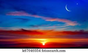 New moon. Prayer time. Generous Ramadan. Mubarak background .