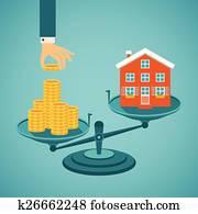vektor, begriff, von, investition, in, real estate