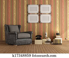 Vintage room with brown classic armchair