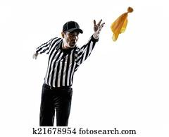 american football referee throwing yellow flag silhouette