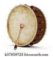 Ramadan drum and drumstick. 3D illustration