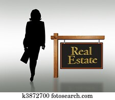 Real estate woman silhouette