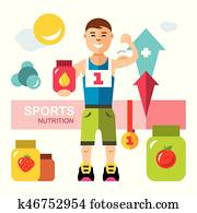 Vector Sports nutrition, Energy Diet Concept. Flat style colorful Cartoon illustration.