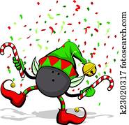 Bowling Ball Christmas Elf