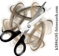 scissor, und, haar