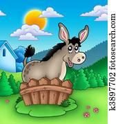 Cute donkey behind fence