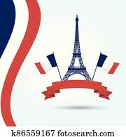 Eiffel tower france flags and ribbon vector design