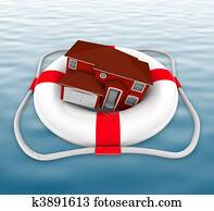 Home in Life Preserver on Water