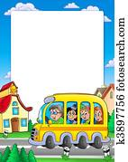 School frame with bus and kids