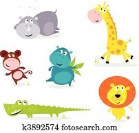 sechs, niedlich, safari tiere, -, giraffe,