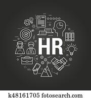 begriff, human resources, auf, schwarz