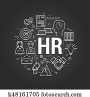 Concept Human Resources on black