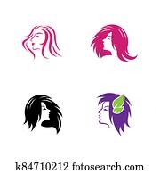 Hair salon logo vector icon