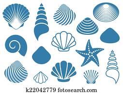 クリップアート切り張りイラスト絵画集 様々 貝殻 イラスト