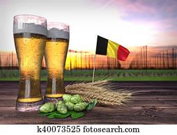 beer consumption in Belgium. 3D render