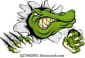 Crocodile or alligator smashing through wall