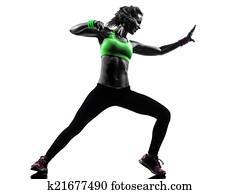 frau, trainieren, gesundheit, zumba, tanzen, silhouette