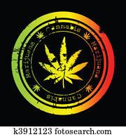 Grunge stamp with marijuana leaf